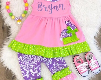 Girls Easter Personalized Outfits, Girls Easter Outfit, Girls Easter Dress, Baby, Toddler Easter Outfit, Easter Basket, Girls Capri Outfit