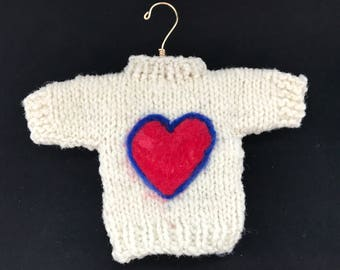 Hand knit sweater ornament