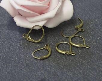 x 10 support of stud earrings in copper bronze BO53
