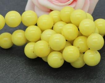 10 10 mm yellow color PEJ05 Mashan jade beads