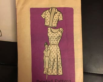 1960's vintage sewing pattern sleeveless sundress with pleated skirt and short sleeve bolero  Anne Adams mail order pattern 4852 size 14 1/2