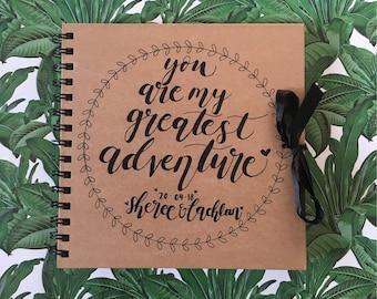 Greatest Adventure kraft wedding scrapbook / wedding guest book, personalised, hand drawn, custom made