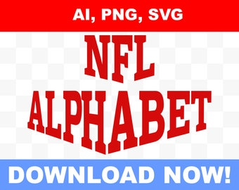 NFL Logo + NFL alphabet, letters and numbers, ready to edit, SVG, png, ai