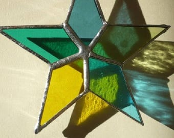 made with tiffany stained glass, glass star