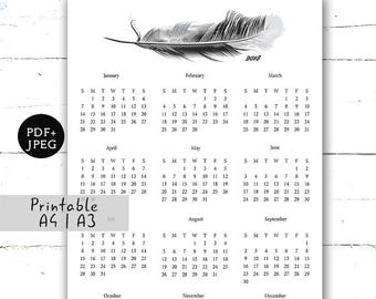 Printable minimalist calendar 2018 Wall calendar 12 months calendar Wall art Calendar A3 A4 Minimalist typographic Minimalist printable