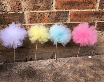 Colorful tulle  Pom Poms