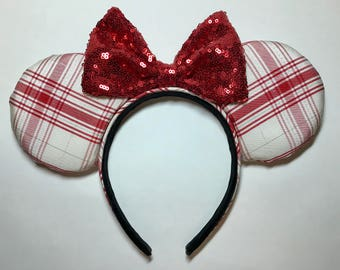 Red and White, Plaid, Minnie Mouse Ears