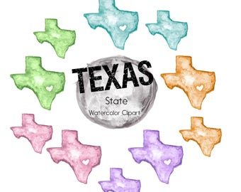 Texas Clipart|State Clipart|Object Clipart|Watercolor Clipart|Heart Clipart|Clipart|Harvey Clipart|Colored Clipart|Texas Capital Clipart