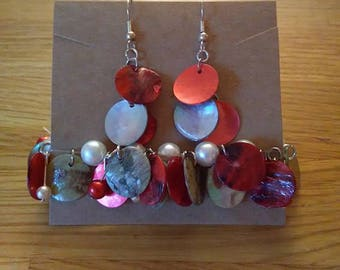 Red and Blue Shimmer Shell Earrings and Bracelet set
