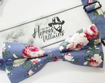 Navy blue floral bow tie,floral bow tie,blue bow tie,wedding bow tie,groomsmen bow tie,wedding floral bow tie,mens bow tie,blue floral tie