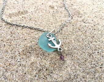 Blue Beach Glass Anchor Purple Crystal Charm