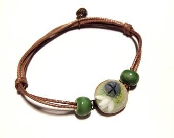 Terra-cotta lacers adjustable gemstone bracelet