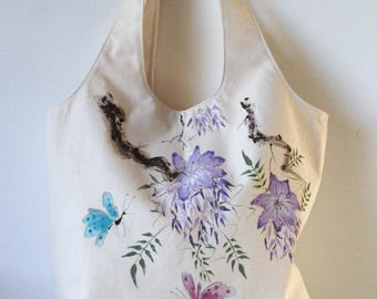 Bag of cotton butterflies hand painted Sumi-e. Gifts