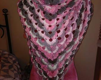 Pink/grey triangle shawl