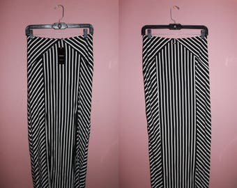 BEBE Striped Maxi Skirt w/ Double Slit