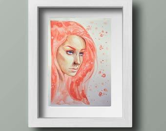 Pink Watercolour Portrait of a Woman Original // A4 Painting // Illustration