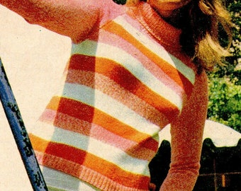 Ladies Knitted Striped Sweater, Knitted Pattern, Instant Download.