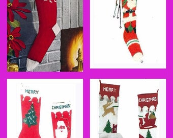Christmas Stockings, Knitting Patterns. Instant Download.