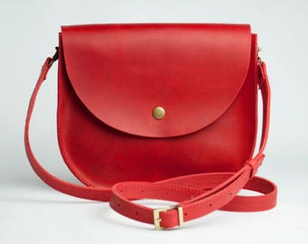 Red Shoulder Bag Natural leather bag Crossbody Bag Shoulder Boho Bag Leather Bag Shoulder Bag Shoulder Purse