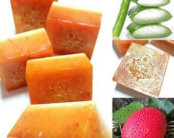 Natural facial soap, Aloe vera & Gac fruit, Facial soap, Organic Soap, Facial care, Christmas gift, Scented Soap, Glycerin Soap, Vegan soap