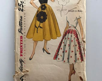 50s circle skirt pattern, Simplicity 3560