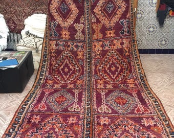 Beni Yaakoub vintage moroccan carpet,350x190 cm,Moroccan carpet, wool rug, Beni Yaakoub rug, vintage carpet, berber textiles, berber carpet,