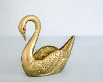 brass swan planter / vintage solid brass planter / swan dish