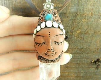 White quartz necklace, necklace Zen goddess. Quartz, turquoise. Polymer clay art.