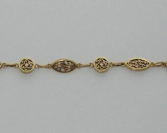 20cm chain oval link antique gold - Ref: COA 110