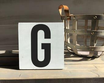 farmhouse-farmhouse sign-initial sign-G sign-initial decor-wood decor-wood sign-self sitting sign-shelf sitter