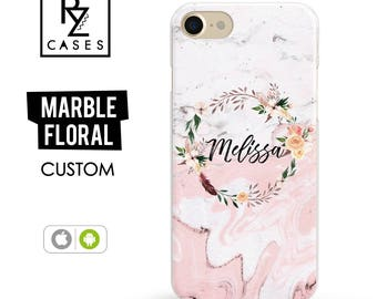 Marble iPhone 7 Case, Rose Marble Phone Case, Floral Marble Case, Personalized Gift for Her, iPhone 7 Plus, Floral, iPhone 6S, Custom Case