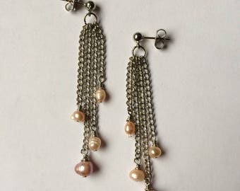 Pearls And Chain Earrings