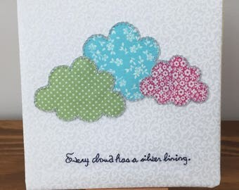 "Embroidery Wall Art / Desk Art ""Every cloud has a silver lining"""