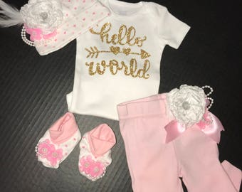 Hello World newborn going home outfit set