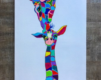 "My ""momma's love"" giraffe 24""x36"" canvas painting"
