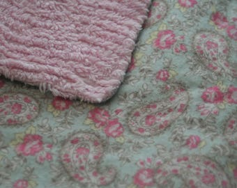 Sweet Pink Paisley Flannel Shag Minky Backed Baby Blanket