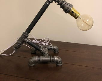 Industrial Desk Pipe Lamp: Bulb Included