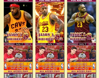 6 kinds of 2X6 Lebron James Cleveland Cavaliers Birthday Invitation, basketball sports party invites-Add photo free