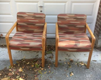 Pickup Only And Delivery To Selected Cities   Pair Of Vintage Wooden  Armchairs From The 80s