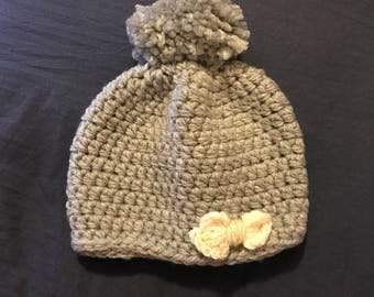 Baby Beanie with Bow and Pompom
