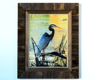 XL Rustic Dark Brown Wood Inlay Frame with ORIGINAL Wooden Matting 16x20 - rustic frame, wooden frame, wooden mat frame, wood matting frame