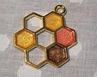 Honeycomb - molecule pendant - gold plated - yellow, orange, chocolate brown colouring
