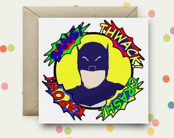 Adam West Batman Square Pop Art Card and Envelope