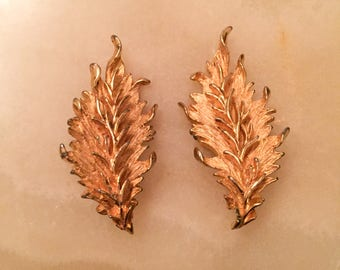 Hattie Carnegie Earrings, Gold Tone Leaves, Vintage Jewelry