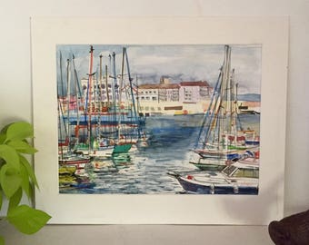 "Watercolor ""the port of Sète"""