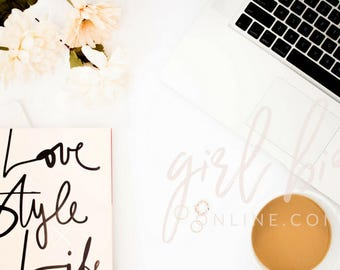 Minimal Floral Styled Stock Photo   Flowers and Laptop (Digital Image / Styled Photos / Stock Images / Blog Stock / Blogging Image)