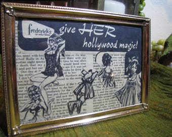 "Vintage Original Ad Collage Art in Gold Metal Frame - Frederick's of Hollywood ""give HER hollywood magic!"" Gift for Wife, Girlfriend, Fiance"