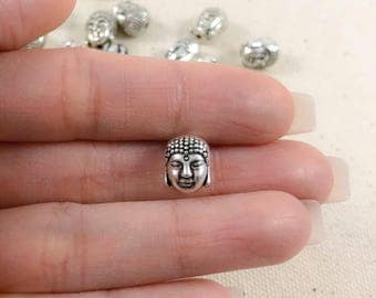 Silver Buddha Beads| Antique Silver Beads | Silver Beads | Spacer Beads | Buddha Heads | Bracelet Beads | Wholesale Beads 10x10mm SB230