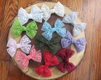 Lace Pinwheel Hair Bow Clip