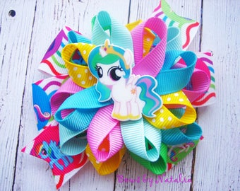 My Little Pony Hair Bow Pony Birthday Princess Celestia Bow Pony Hair bow My Little Pony Dress Birthday Party Pony Hair Clip Pony Loopy Bow